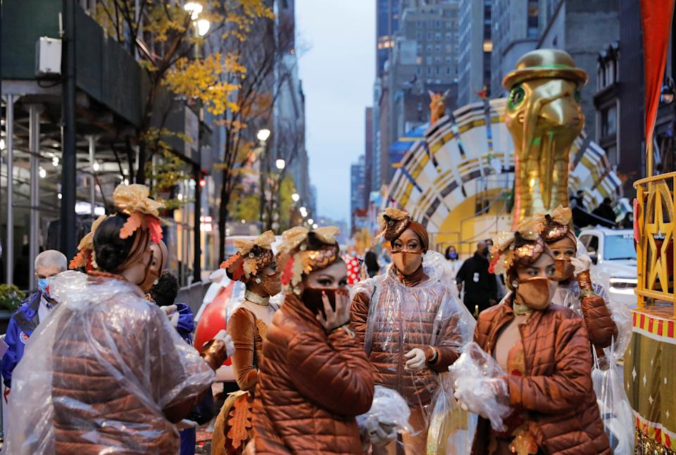 <p>Participants gather ahead of the 94th Macy's Thanksgiving Day Parade</p>REUTERS