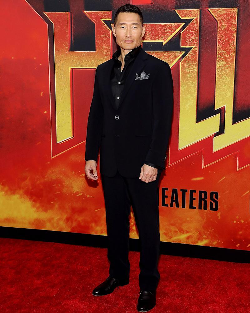 50-year-old Daniel Dae Kim, who is 50, hits the fiery red carpet at a screening of Hellboy.