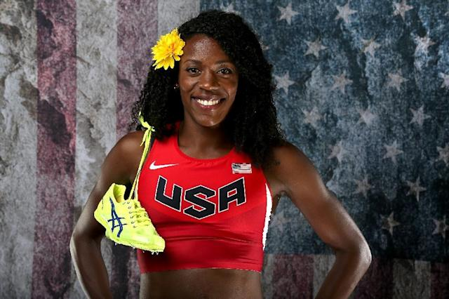 Sprinter Alysia Montano poses for a photo at the Team USA Media Summit at The Beverly Hilton Hotel in Beverly Hills, California, on March 7, 2016 (AFP Photo/Sean M. Haffey)