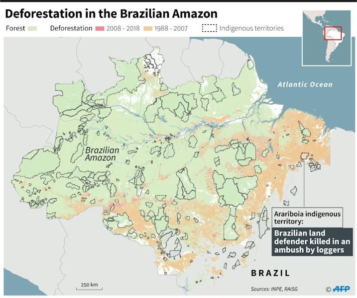 Map of deforestation and indigenous territories in Brazil, includes the area where a land defender was killed in an ambush by loggers on Nov 1