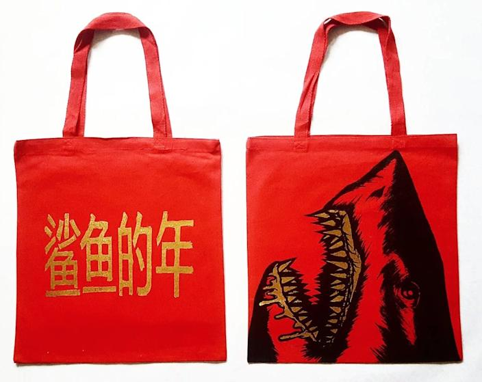 David Lew's hand-painted bags.