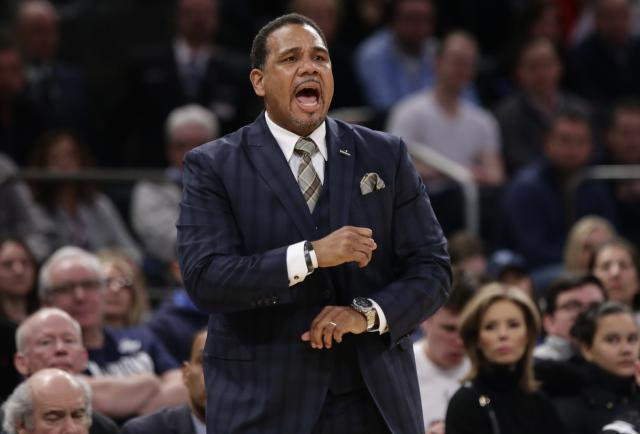 Providence coach Ed Cooley ripped his pants in the Big East Championship game on Saturday. (AP Photo/Frank Franklin II)