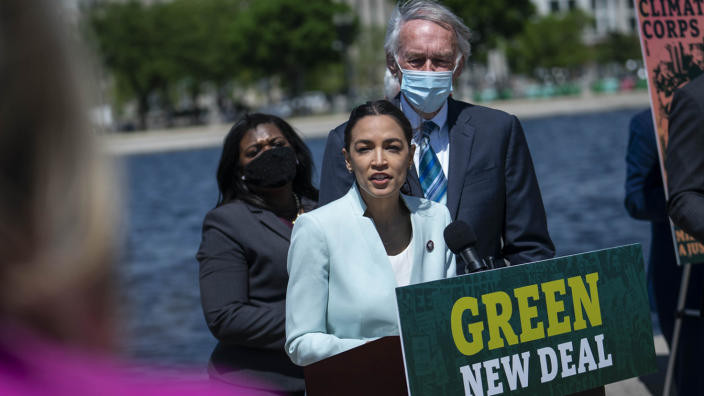 Rep. Alexandria Ocasio-Cortez (D-NY) speaks during a news conference held to re-introduce the Green New Deal at the West Front of the U.S. Capitol on April 20, 2021 in Washington, DC. (Sarah Silbiger/Getty Images)