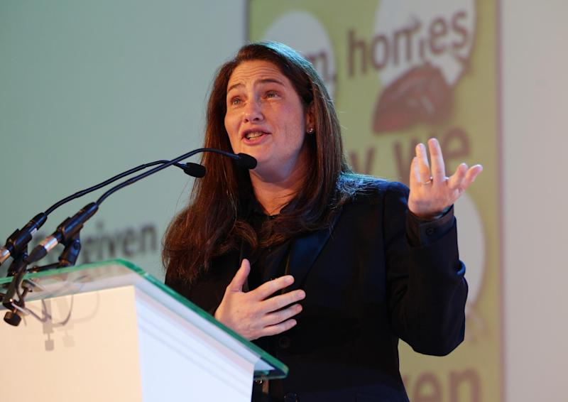 "American novelist A.M. Homes gives a speech of thanks at the Royal Festival Hall, London Wednesday June 5, 2013 after winning the 2013 Women's Prize for Fiction with her sixth novel ""May We Be Forgiven."" Homes beat award winning writer Hilary Mantel and three other finalists for the 30,000-pound ($45,000) prize _ previously known as the Orange Prize, one of Britain's most prestigious literary awards. (AP Photo/ Yui Mok/ PA) UNITED KINGDOM OUT"