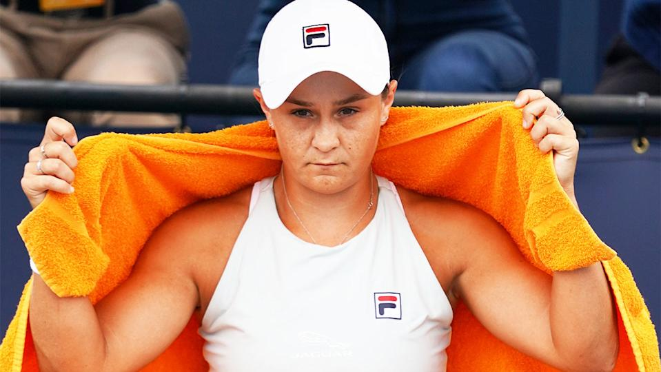 Ash Barty (pictured) with a towel during the Miami Open.