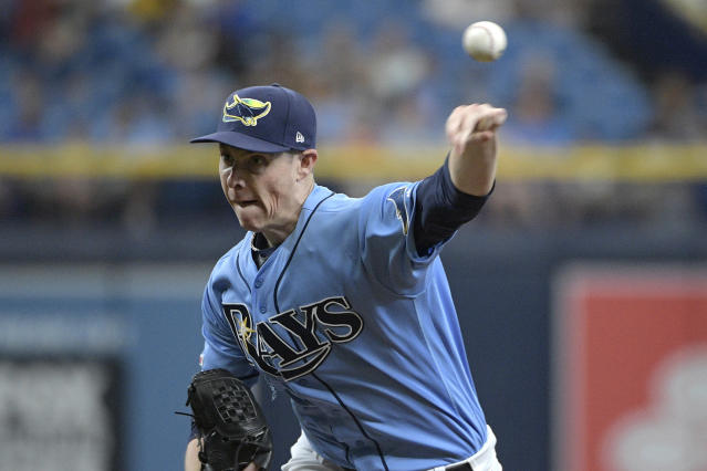 Tampa Bay Rays starting pitcher Ryan Yarbrough throws to home plate during the first inning of a baseball game against the Boston Red Sox Sunday, Sept. 22, 2019, in St. Petersburg, Fla. (AP Photo/Phelan M. Ebenhack)