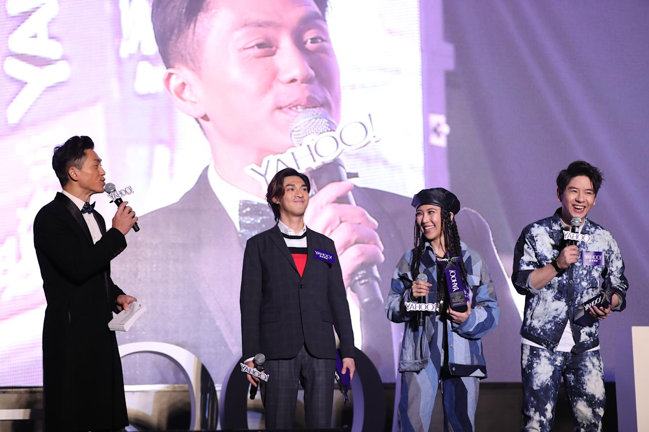 <p>Kelvin Kwan, Sherman Chung and Alfred Hui at the Yahoo Asia Buzz Awards 2017 in Hong Kong on Wednesday (6 December).</p>