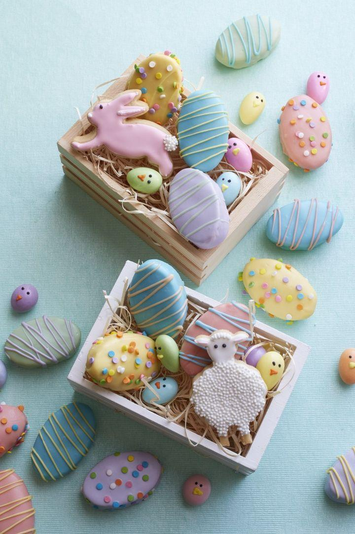 """<p>Practice your royal icing decorating skills with these adorable Easter animal cookies. Spoiler alert: No matter what the icing <em>looks</em> like, these will taste just as good. </p><p><strong><em><a href=""""https://www.womansday.com/food-recipes/food-drinks/recipes/a53966/sugar-cookie-bunnies-and-lambs-recipe/"""" rel=""""nofollow noopener"""" target=""""_blank"""" data-ylk=""""slk:Get the Sugar Cookie Bunnies and Lambs recipe."""" class=""""link rapid-noclick-resp"""">Get the Sugar Cookie Bunnies and Lambs recipe. </a></em></strong></p><p><br></p>"""