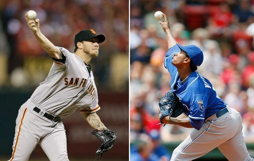 FILE - At left, in an Oct. 12, 2014, file photo, San Francisco Giants' Jake Peavy throws during the second inning in Game 2 of the National League baseball championship series against the St. Louis Cardinals in St. Louis. At right, in a July 20, 2014, file photo, Kansas City Royals' Yordano Ventura pitches during the first inning of a baseball game against the Boston Red Sox in Boston. The Giants try to take a 2-0 lead in the World Series when Jake Peavy starts against Kansas City rookie Yordano Ventura, Wednesday, Oct. 22, 2014, in Kansas City, Mo. (AP Photo/File)
