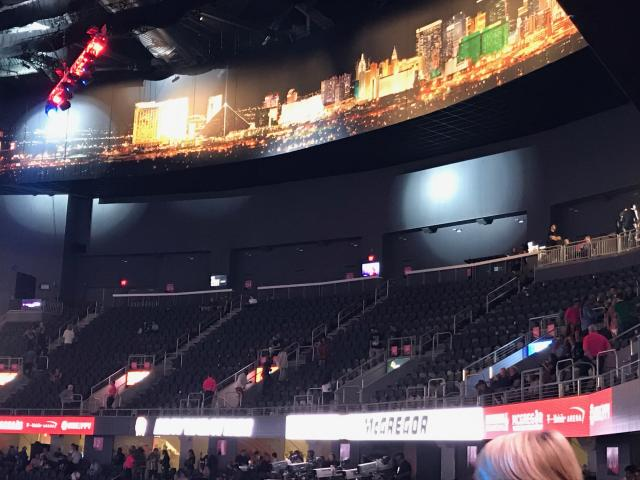 Attendance for Saturday's Floyd Mayweather vs. Conor McGregor fight was only 14,623. The T-Mobile Arena holds 20,000. (Yahoo Sports/Marcus Vanderberg)