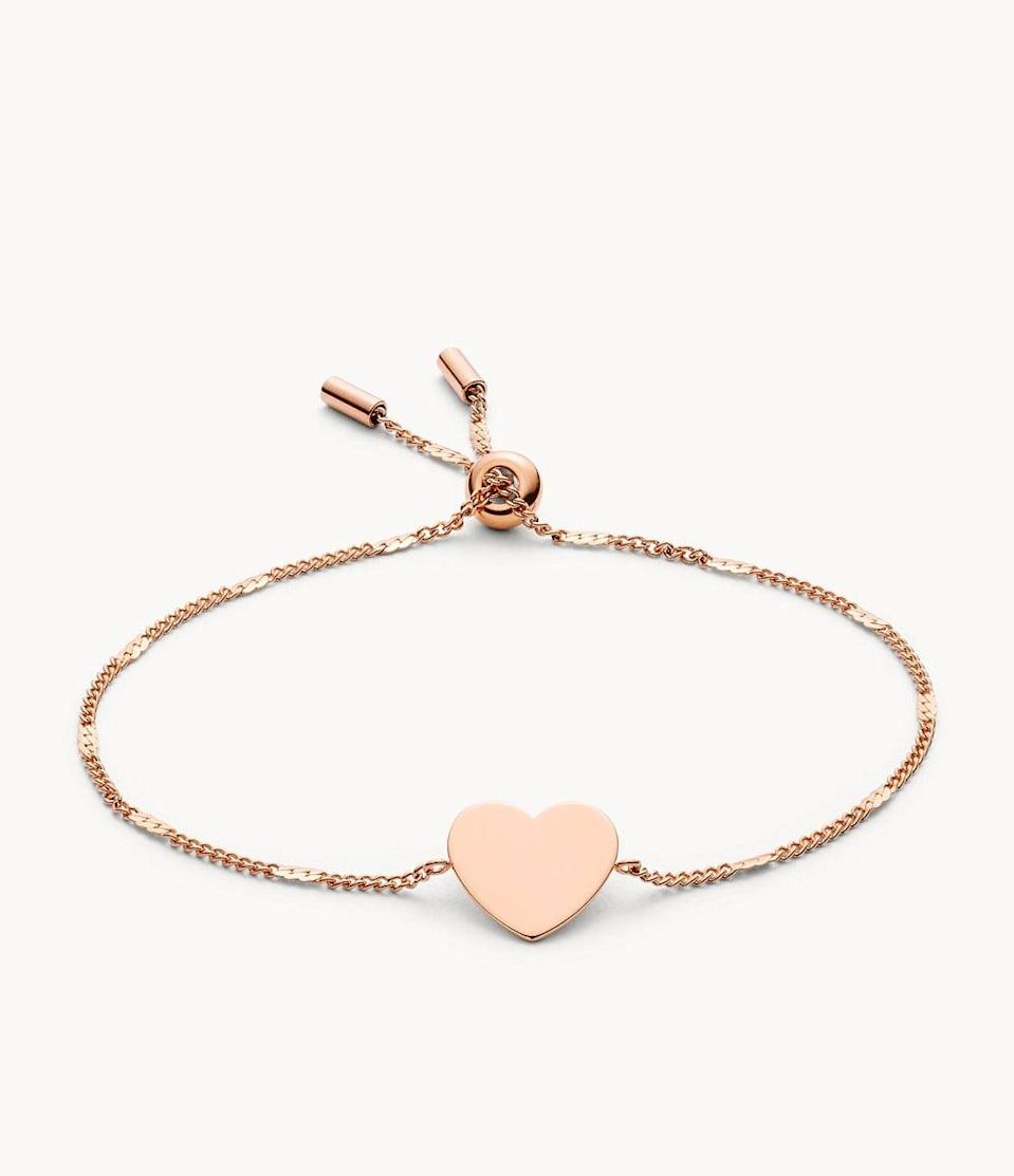 <p>We appreciate this <span>Fossil Heart Rose Gold-Tone Steel Bracelet</span> ($34) because it goes with everything.</p>