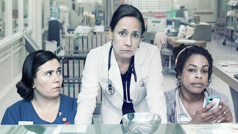 "<p>Laurie Metcalf has always been a bit of an underrated actress. Pair her off with the likes of Niecy Nash and Alex Borstein, and you have one of the most accomplished casts on television representing overworked doctors and nurses in one of the most overlooked comedies on HBO.</p><p><a class=""link rapid-noclick-resp"" href=""https://play.hbonow.com/series/urn:hbo:series:GVU2d2Qm5QY7DwvwIAUCK?camp=Search&play=true"" rel=""nofollow noopener"" target=""_blank"" data-ylk=""slk:Watch Now"">Watch Now</a></p>"
