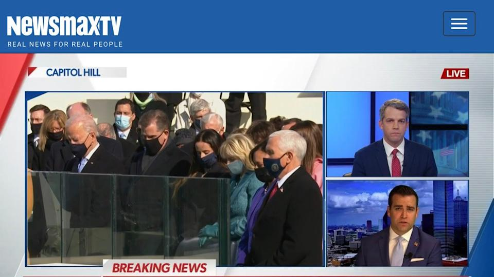 The ultra-conservative news channel Newsmax covering Joe Biden's inauguration on 20 January, 2021 (Newsmax)