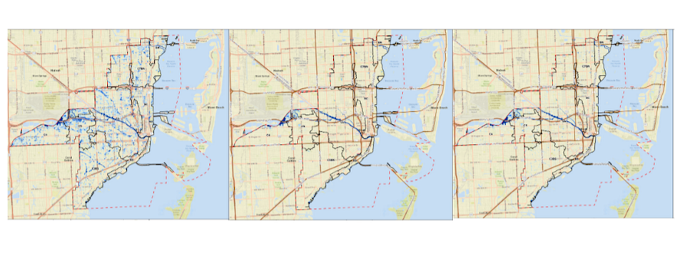 Modeling from Miami's new stormwater master plan shows three scenarios where the city is inundated with about 10 inches of rain in 72 hours: one where no new drainage infrastructure is installed, one where $5.6 billion of infrastructure is built and one where $3.8 billion of infrastructure is built.