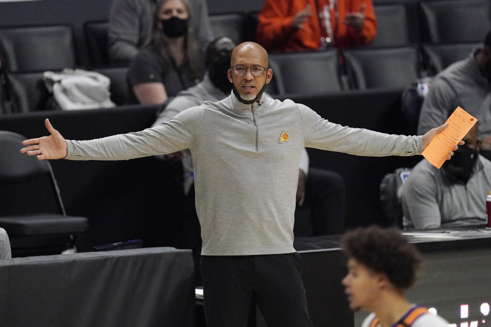 Phoenix Suns head coach Monty Williams gestures during the first half in Game 3 of the NBA basketball Western Conference Finals against the Los Angeles Clippers Thursday, June 24, 2021, in Los Angeles. (AP Photo/Mark J. Terrill)