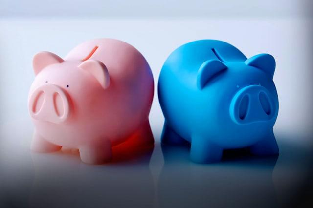BDJD2R Piggy Banks bickering, colour pink, color blue, color pink, close-shot, blank space, close shot, disputing, disagreeing,