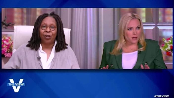 "Whoopi Goldber and Meghan McCain on ""The View"" on Monday, April 5. (Screenshot, ABC)"