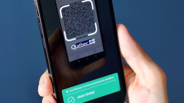 Starting on Sept. 1, Quebecers will have to show proof of vaccination to access some non-essential services like bars, restaurants, gyms and music festivals.  Cyber security experts say because the codes are not encrypted, the personal info in the codes is fairly easy to access. (Submitted by the Government of Quebec - image credit)