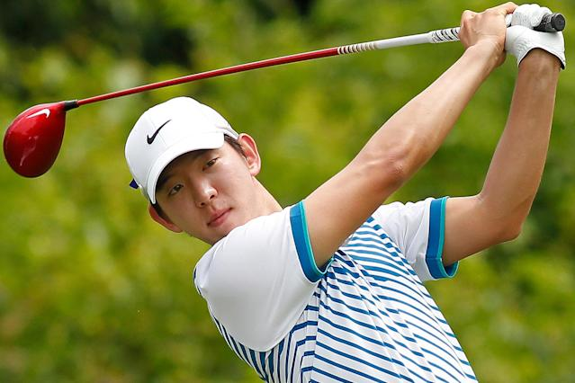 Seung-yul Noh, of South Korea, tees off on the second hole during the third round of the PGA Zurich Classic golf tournament at TPC Louisiana in Avondale, La., Saturday, April 26, 2014. (AP Photo/Jonathan Bachman)