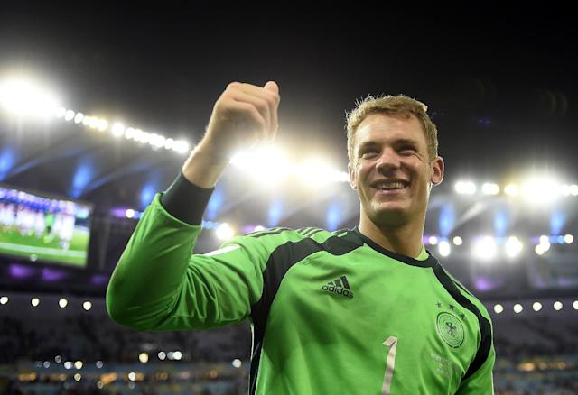 Germany's goalkeeper Manuel Neuer celebrates after winning the 2014 FIFA World Cup final football match between Germany and Argentina 1-0 following extra-time at the Maracana Stadium in Rio de Janeiro, Brazil, on July 13, 2014 (AFP Photo/Fabrice Coffrini)