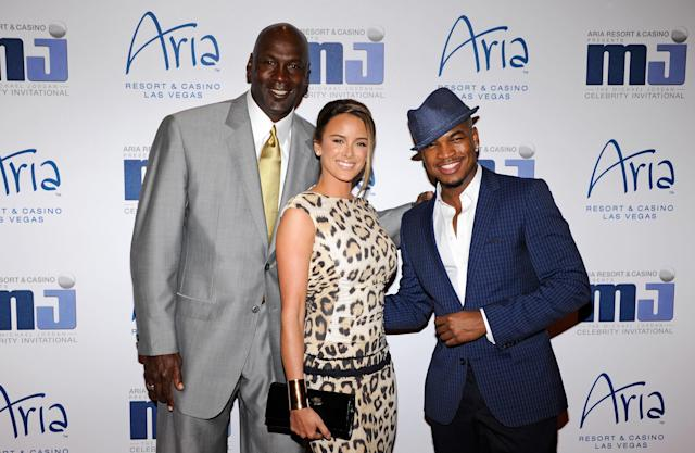 LAS VEGAS, NV - MARCH 30: (L-R) Charlotte Bobcats owner Michael Jordan, his fiancee Yvette Prieto and recording artist Ne-Yo arrive at the 11th annual Michael Jordan Celebrity Invitational gala at the Aria Resort & Casino at CityCenter March 30, 2011 in Las Vegas, Nevada. (Photo by Ethan Miller/Getty Images for MJCI)