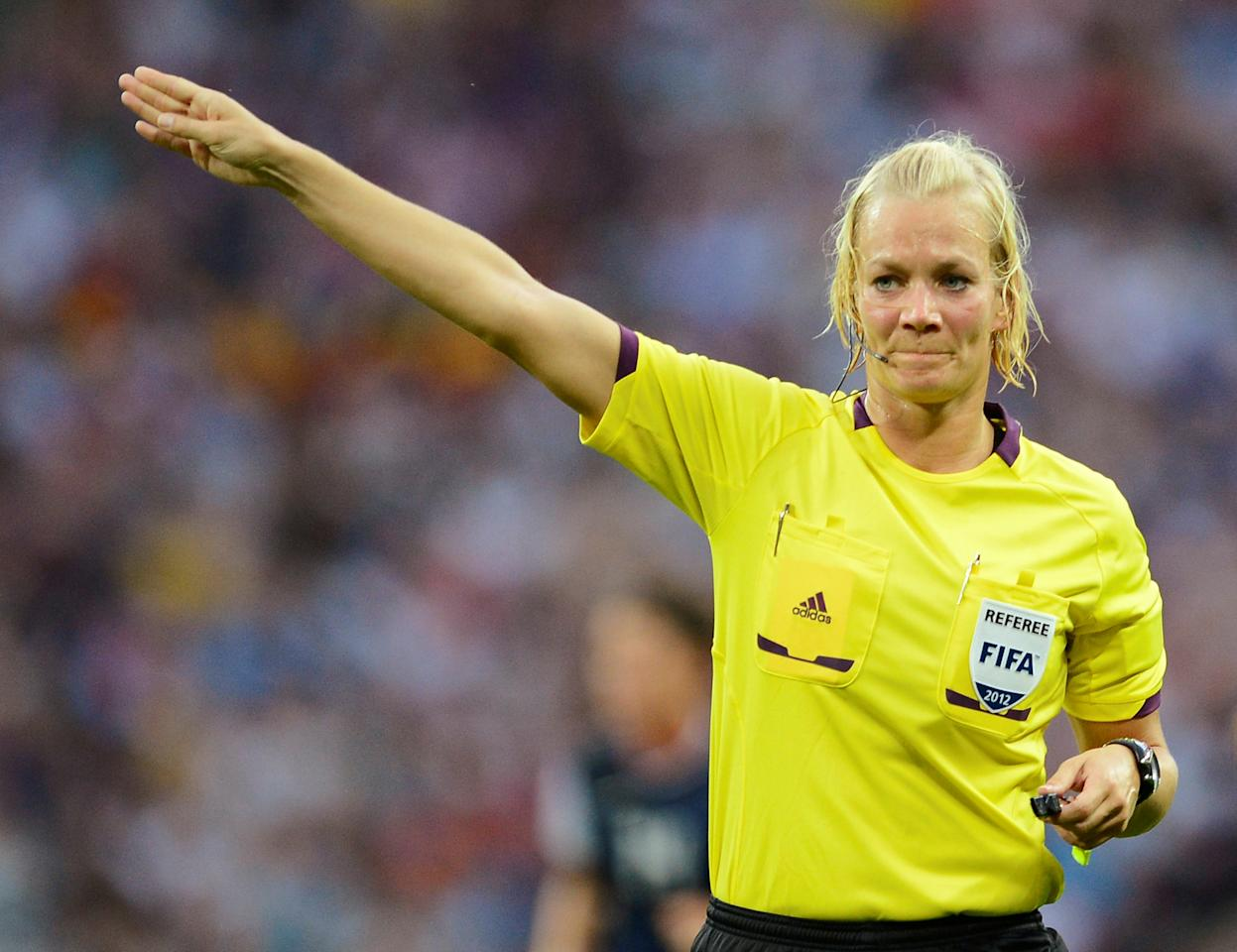 FILE PHOTO: Bibiana Steinhaus of Germany officiates in the women's final soccer match featuring the U.S. against Japan at the London 2012 Olympic Games in London at Wembley Stadium in London, Britain August 9, 2012. REUTERS/Nigel Roddis/File Photo