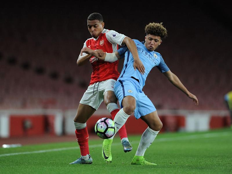 Jadon Sancho has been one of those to impress among City's youth ranks (Getty)