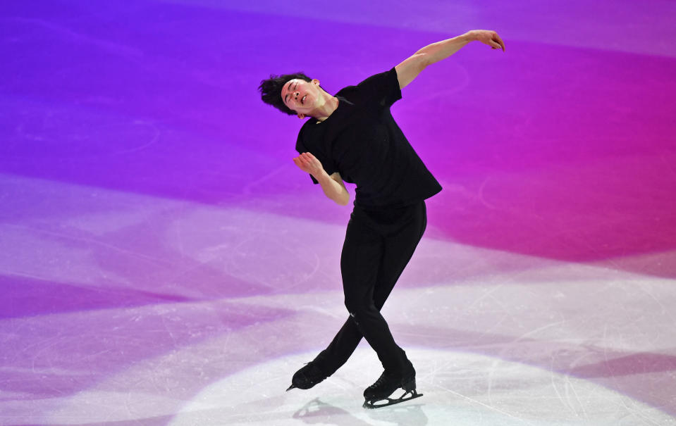 World Champion Nathan Chen of the USA performs during the Gala Exhibition at the Figure Skating World Championships in Stockholm, Sweden, Sunday, March 28, 2021. (AP Photo/Martin Meissner)