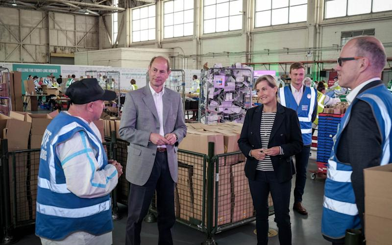 The Earl and Countess of Wessex visiting the SaluteTheNHS warehouse in Bicester - Adrian Wroth