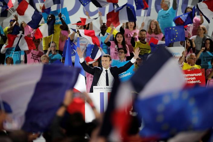 <p>Emmanuel Macron, head of the political movement En Marche !, or Onwards !, and candidate for the 2017 presidential election, attends a campaign rally in Paris, France, May 1, 2017. (Benoit Tessier/Reuters) </p>