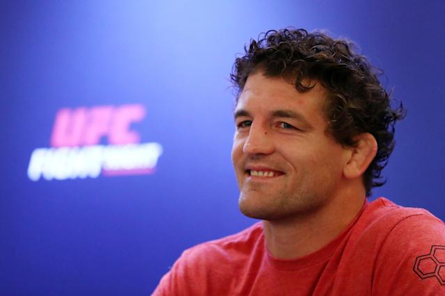Ben Askren fields questions from the media during a UFC Singapore press conference at the Mandarin Oriental Hotel on Sept. 3, 2019 in Singapore. (Yong Teck Lim/Zuffa LLC)