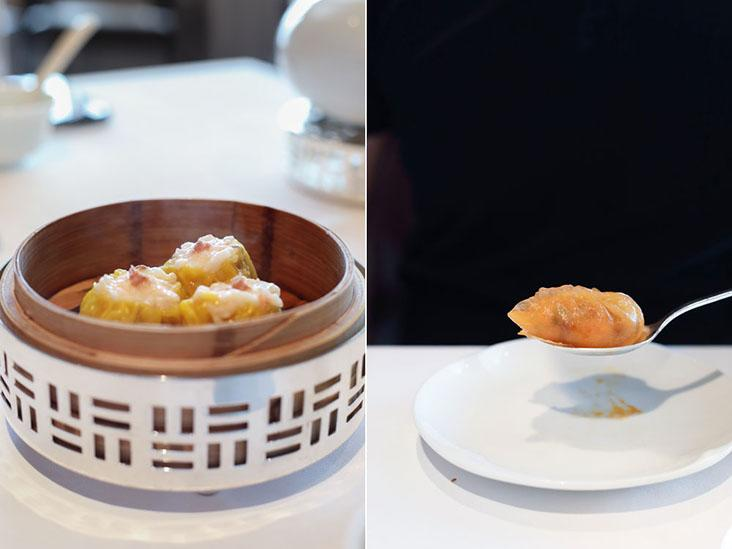 The indispensable 'siu mai' (left). Steamed dumpling by spoon (right)