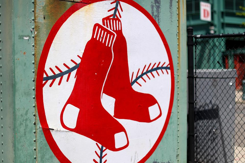 A view of the Red Sox logo outside of Fenway Park on May 20, 2020 in Boston, Massachusetts.