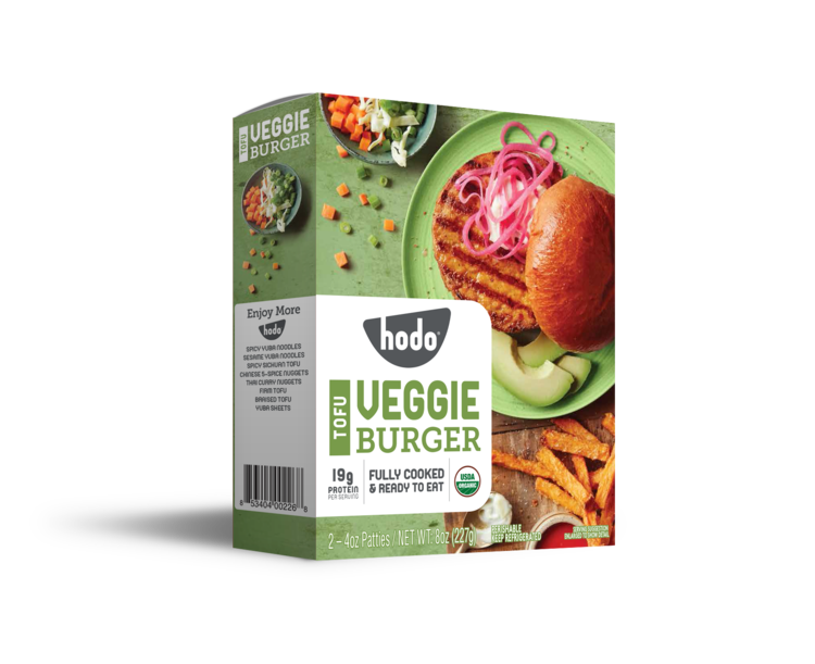 "<p><strong>Hodo</strong></p><p>hodofoods.com</p><p><a href=""https://www.hodofoods.com/product-details/tofu-veggie-burger"" rel=""nofollow noopener"" target=""_blank"" data-ylk=""slk:BUY NOW"" class=""link rapid-noclick-resp"">BUY NOW</a></p><p>One four-ounce patty has 19 grams of protein and 8 grams of fiber for only 190 calories. The patty is primarily tofu (so it's made of soybeans), but dried shiitake mushrooms lend a deep savory flavor.</p>"