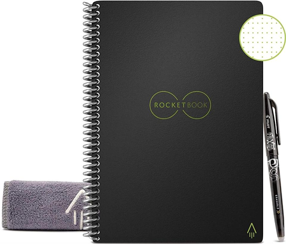 <p>This <span>Rocketbook Everlast Reusable Smart Notebook</span> ($20) contains only 36 pages, but they can be wiped clean with a damp cloth, and can also be exported to Slack, email, Google Drive - you name it.</p>