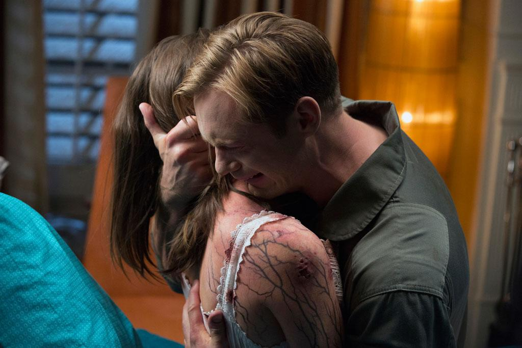 "Lucy Griffiths and Alexander Skarsgard in the ""True Blood"" Season 6 episode, ""In the Evening."""