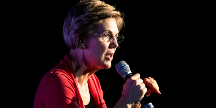 Democratic presidential candidate Sen. Elizabeth Warren, D-Mass., speaks during a campaign event, Thursday, Feb. 6, 2020, in Derry, N.H. (AP Photo/Matt Rourke)