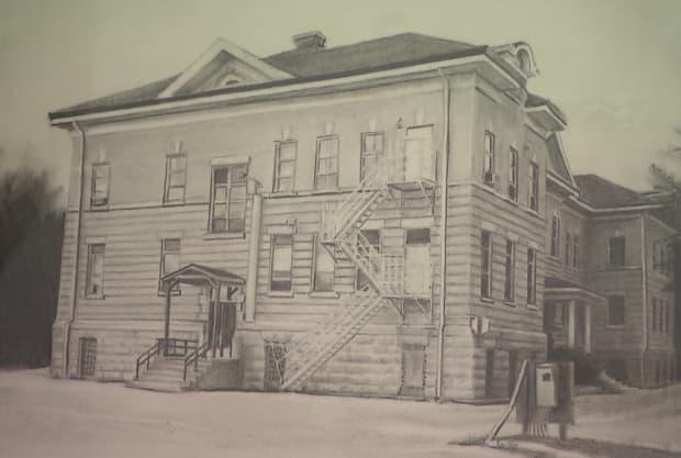 A drawing of the former Portage la Prairie Indian Residential School.