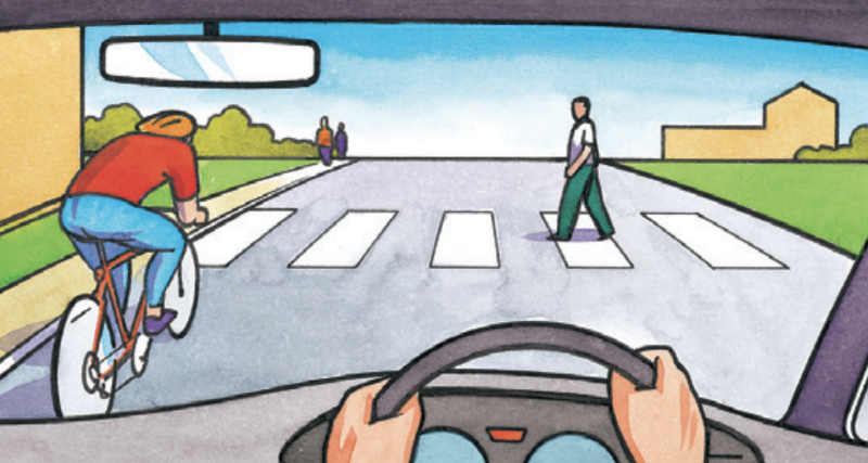 An artist drawing of a driver and cyclist approaching a pedestrian crossing.