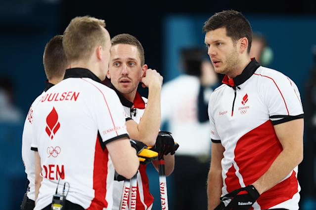<p>Oliver Dupont, Mikkel Poulsen, Johnny Frederiksen and Rasmus Stjerne of Denmark compete in the Curling Men's Round Robin Session 4 held at Gangneung Curling Centre on February 16, 2018 in Gangneung, South Korea </p>