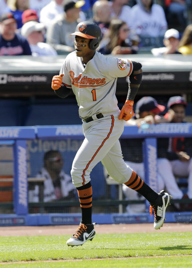 Baltimore Orioles' Tim Beckham runs the bases after hitting a solo home run off Cleveland Indians starting pitcher Josh Tomlin in the sixth inning of a baseball game, Saturday, Sept. 9, 2017, in Cleveland. (AP Photo/Tony Dejak)
