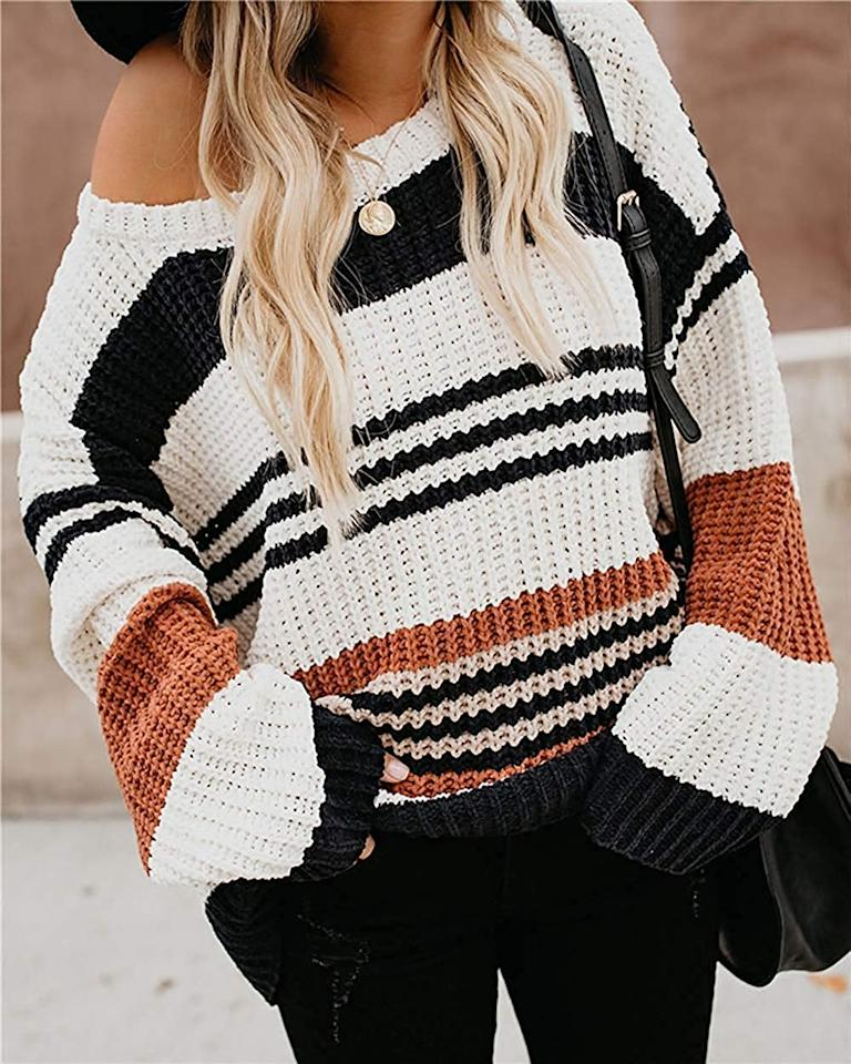 "<p>This <a href=""https://www.popsugar.com/buy/Zesica-Striped-Sweater-493260?p_name=Zesica%20Striped%20Sweater&retailer=amazon.com&pid=493260&price=26&evar1=fab%3Auk&evar9=46670855&evar98=https%3A%2F%2Fwww.popsugar.com%2Ffashion%2Fphoto-gallery%2F46670855%2Fimage%2F46670875%2FZesica-Striped-Sweater&list1=shopping%2Cfall%20fashion%2Csweaters%2C50%20under%20%2450%2Caffordable%20shopping&prop13=api&pdata=1"" rel=""nofollow"" data-shoppable-link=""1"" target=""_blank"" class=""ga-track"" data-ga-category=""Related"" data-ga-label=""https://www.amazon.com/ZESICA-Striped-Knitted-Pullover-Sweater/dp/B07XZ41JM2/ref=pd_sbs_193_5/137-3889612-4203903?_encoding=UTF8&amp;pd_rd_i=B07XZ41JM2&amp;pd_rd_r=1eb836e2-e765-4848-8902-d8d54ead3418&amp;pd_rd_w=EK8qQ&amp;pd_rd_wg=liAEp&amp;pf_rd_p=d66372fe-68a6-48a3-90ec-41d7f64212be&amp;pf_rd_r=A5TNDW5J4AZMB7XMDAT0&amp;refRID=A5TNDW5J4AZMB7XMDAT0&amp;th=1&amp;psc=1"" data-ga-action=""In-Line Links"">Zesica Striped Sweater</a> ($26) gives us autumnal vibes.</p>"
