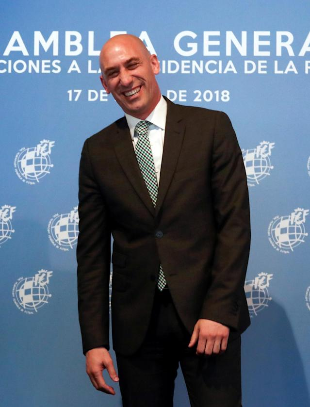 Luis Rubiales reacts after being elected as Spanish Soccer Federation's new president in Las Rozas, Spain, May 17, 2018. REUTERS/Sergio Perez