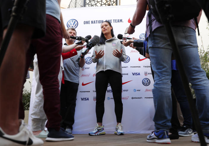 "<a class=""link rapid-noclick-resp"" href=""/olympics/rio-2016/a/1124292/"" data-ylk=""slk:Ali Krieger"">Ali Krieger</a> answers questions on Saturday. (AP)"