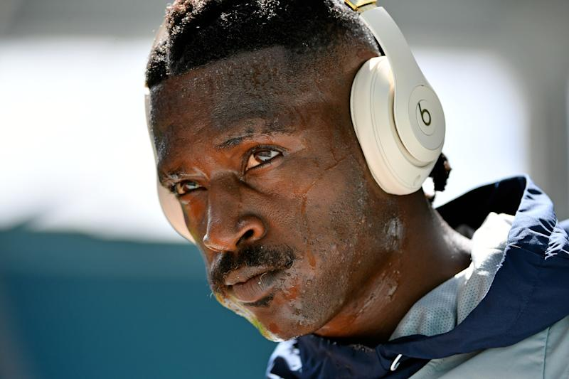 Sep 15, 2019; Miami Gardens, FL, USA; New England Patriots wide receiver Antonio Brown (17) warms up prior to the game against the Miami Dolphins at Hard Rock Stadium. Mandatory Credit: Jasen Vinlove-USA TODAY Sports