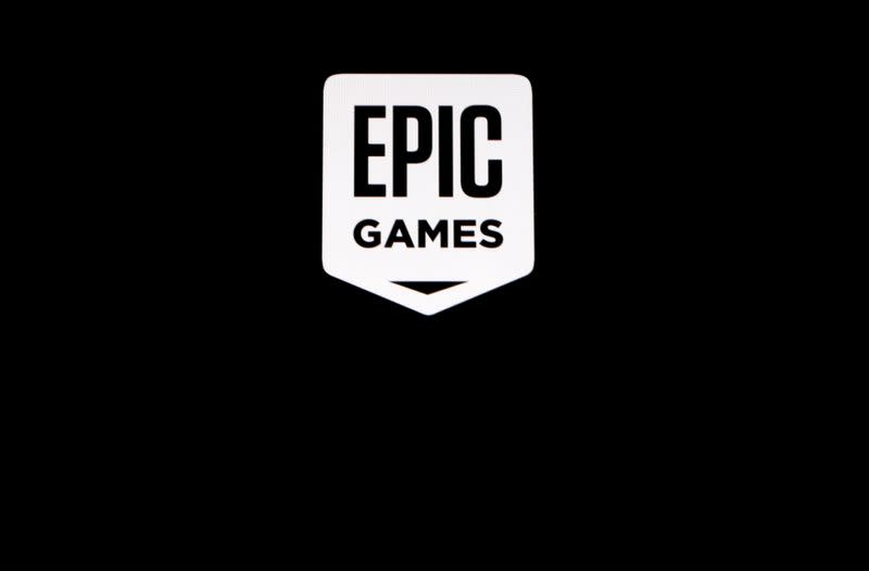 """FILE PHOTO: The Epic Games logo, maker of the popular video game """"Fortnite"""", is pictured on a screen"""