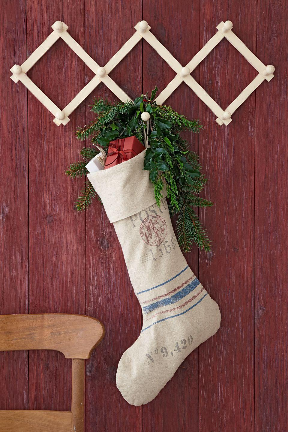 """<p>Reminiscent of a vintage French mailbag, this linen number also happens to be enormous. Translation: more room for presents, and at a jolly low price. Simply stamp with a monogram or add other pretty personalization.<br></p><p><a class=""""link rapid-noclick-resp"""" href=""""https://www.amazon.com/s/ref=nb_sb_noss_2?url=search-alias%3Dgarden&field-keywords=canvas+stocking&tag=syn-yahoo-20&ascsubtag=%5Bartid%7C10050.g.1407%5Bsrc%7Cyahoo-us"""" rel=""""nofollow noopener"""" target=""""_blank"""" data-ylk=""""slk:SHOP CANVAS STOCKINGS"""">SHOP CANVAS STOCKINGS</a></p>"""