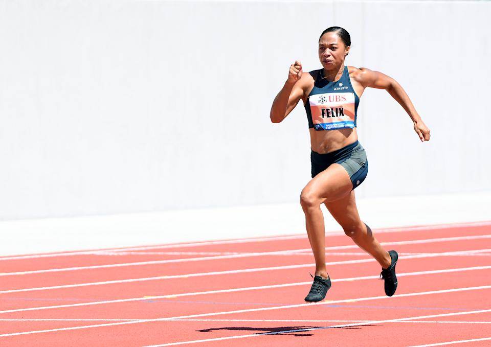 Allyson Felix en una prueba disputada en julio de 2020 en California. (Foto: Harry How / Getty Images).