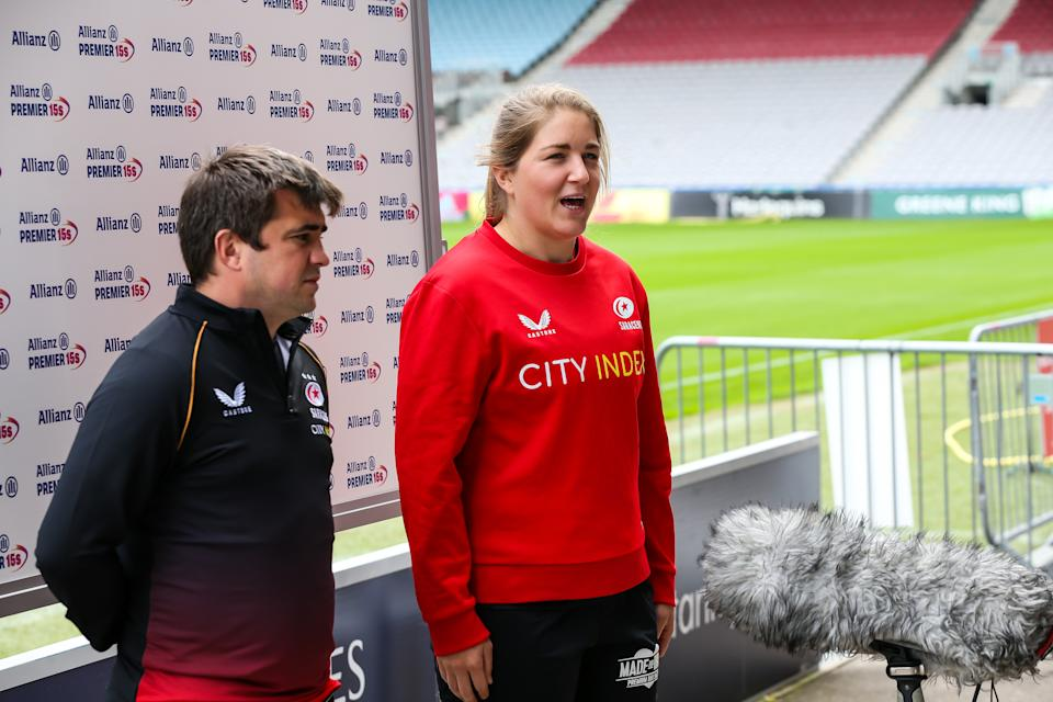 Alex Austerberry and Poppy Cleall of Saracens give an interview during the Allianz Premier 15s 2021-2022 Season launch at Twickenham Stoop