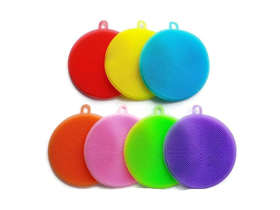 """<p>Traditional sponges can be filled with dirt and bacteria, so try washing your dishes with this <a href=""""https://www.popsugar.com/buy/Silicone-Sponge-Dish-Antibacterial-Washing-Brush-403264?p_name=Silicone%20Sponge%20Dish%20Antibacterial%20Washing%20Brush&retailer=amazon.com&pid=403264&price=14&evar1=yum%3Aus&evar9=45643003&evar98=https%3A%2F%2Fwww.popsugar.com%2Ffood%2Fphoto-gallery%2F45643003%2Fimage%2F45643760%2FSilicone-Sponge-Dish-Antibacterial-Washing-Brush&list1=gadgets%2Ckitchen%20tools%2Ckitchen%20accessories%2Chome%20shopping&prop13=mobile&pdata=1"""" class=""""link rapid-noclick-resp"""" rel=""""nofollow noopener"""" target=""""_blank"""" data-ylk=""""slk:Silicone Sponge Dish Antibacterial Washing Brush"""">Silicone Sponge Dish Antibacterial Washing Brush</a> ($14).</p>"""